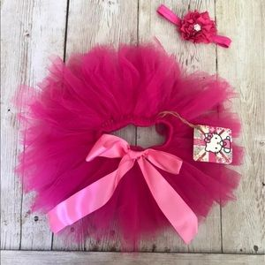 baby girl toddler tutu skirt bow headband tulle